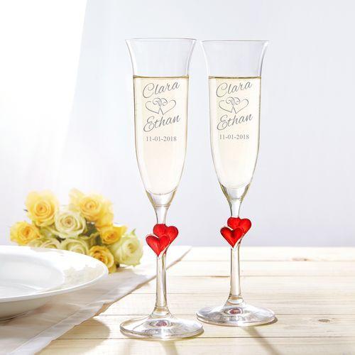 Flûtes de champagne avec coeurs - gravées
