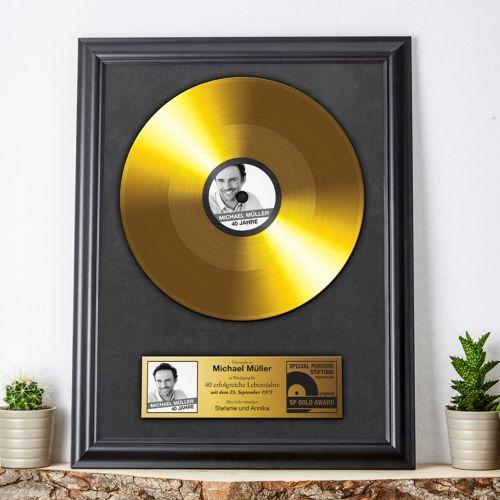 Individuellbesonders - Goldene Schallplatte personalisiertes Bild - Onlineshop Monsterzeug