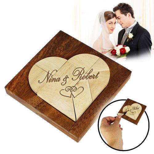 Mini puzzle en bois – cœur pour le mariage
