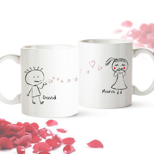 Set de 2 mugs personnalisés – Couple d'amoureux