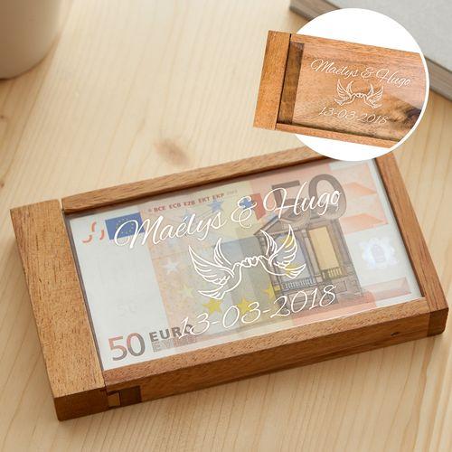 Boîte cadeau d'argent magique – gravure tourtereaux