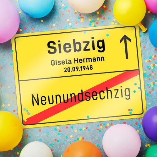 Personalisiertes Ortsschilderbild 70. Geburtstag