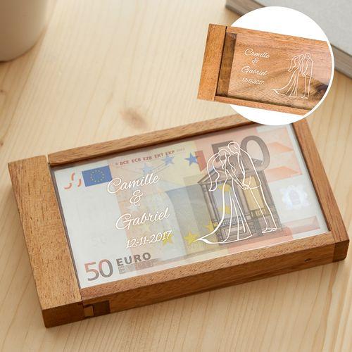 Boîte cadeau d'argent magique avec gravure – silhouette