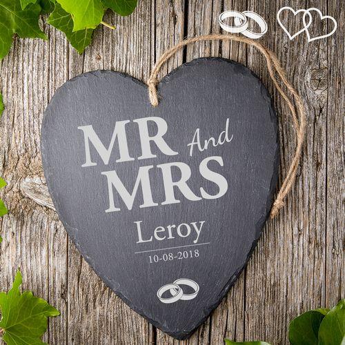 Cœur en ardoise avec gravure – Mr and Mrs