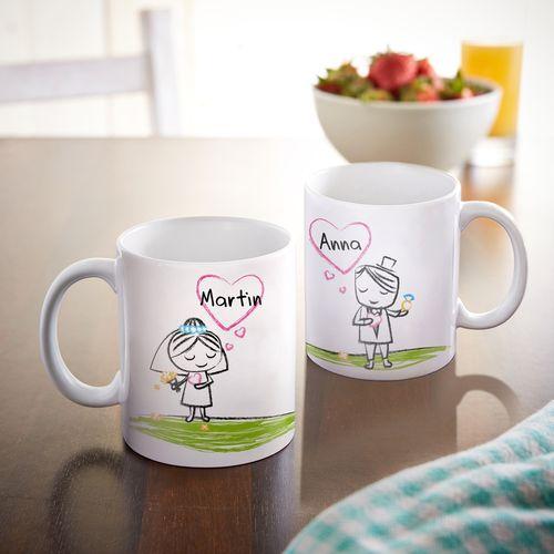Set de 2 mugs personnalisés – Couple de jeunes mariés