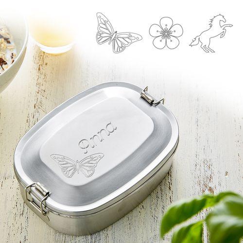 Boîte repas gravée en inox pour filles - ronde