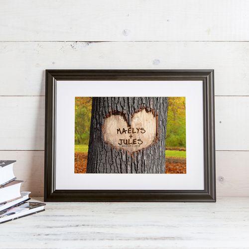 Tableau cœur dans l'arbre sur fond d'automne – personnalisé