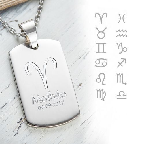 Pendentif dog tag avec gravure – symboles des signes du zodiac