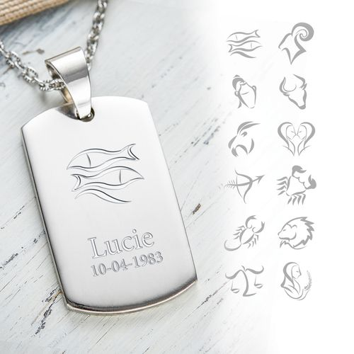 Pendentif dog tag avec gravure – signe du zodiac