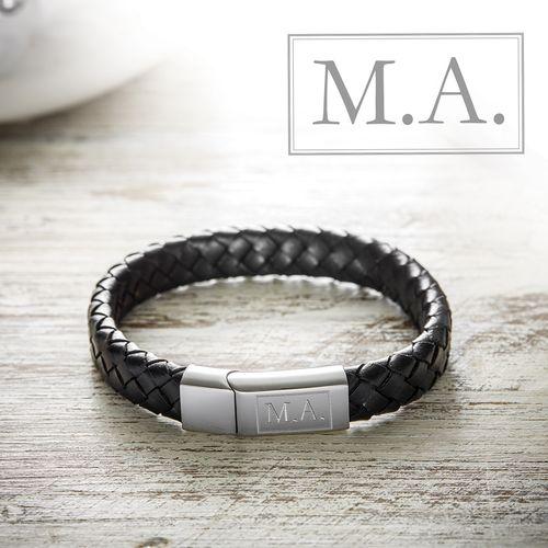 Bracelet en cuir tressé – initiales gravées