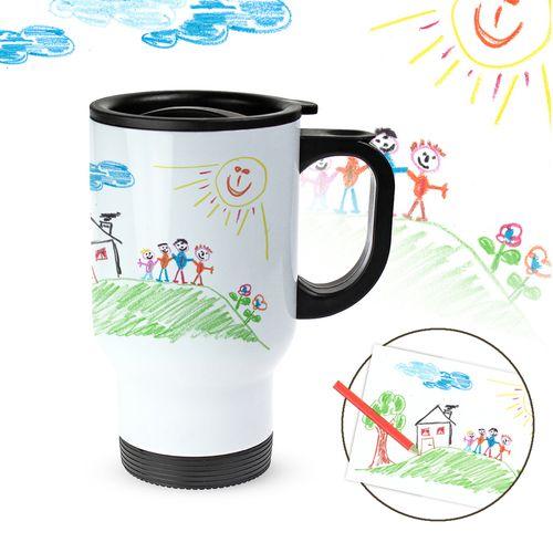 Tasse thermo personnalisée avec photo – dessin d'enfant
