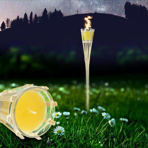 Gartenfackel mit Duftkerze im Glas gelb