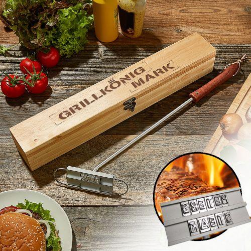 grillbrandeisen mit grillk nig gravur auf der geschenkbox. Black Bedroom Furniture Sets. Home Design Ideas