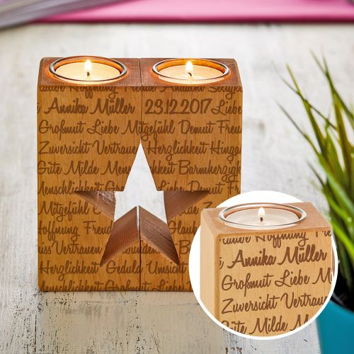 Kerzenhalter Set Stern - Worte mit Namensgravur