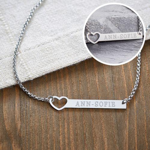 Kette mit Herzstanze Silber Namensgravur