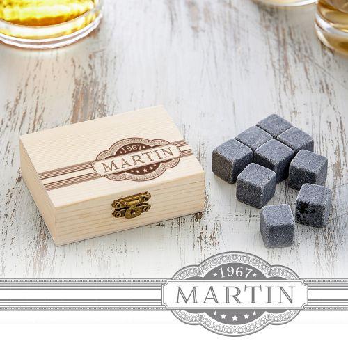 Whisky Steine in Holzkiste mit Gravur Banderole