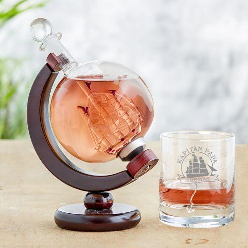 Rum Set mit Globus Karaffe und Glas Segelschiff für Papa