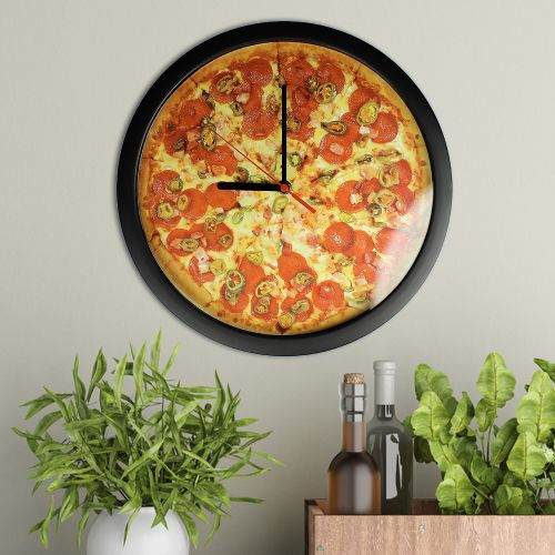 stylische wanduhr pizza mit ziffernblatt ohne nummern. Black Bedroom Furniture Sets. Home Design Ideas