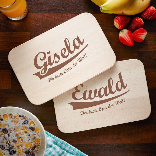 Frühstücksbrettchen Set mit Gravur Die besten Großeltern