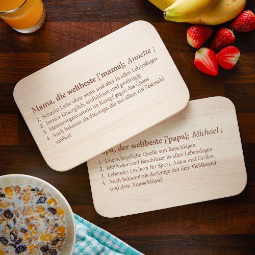 Frühstücksbrettchen Set mit Gravur Definition Eltern
