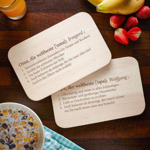 Frühstücksbrettchen Set mit Gravur Definition Großeltern