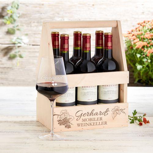Flaschenträger mit Weinglas personalisiert Mobiler Weinkeller