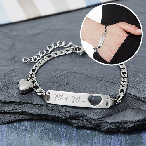 Armband mit Herzstanze Silber Initialengravur