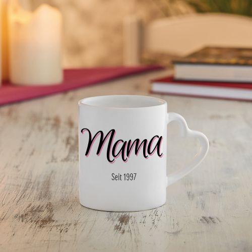 Personalisierte Herz Henkeltasse Mama seit