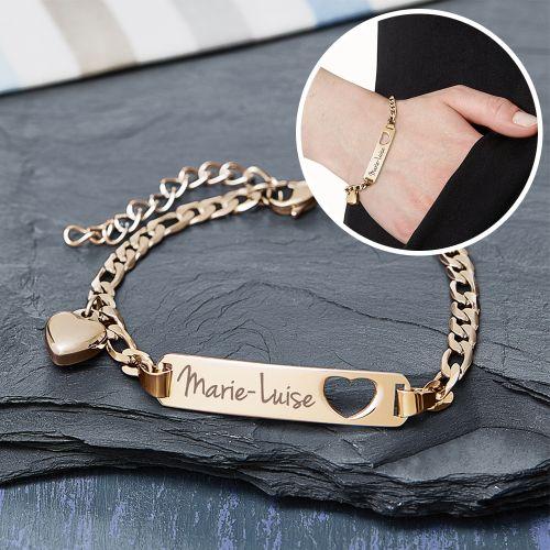 Individuellschmuck - Armband mit Herzstanze Gold Namensgravur - Onlineshop Monsterzeug