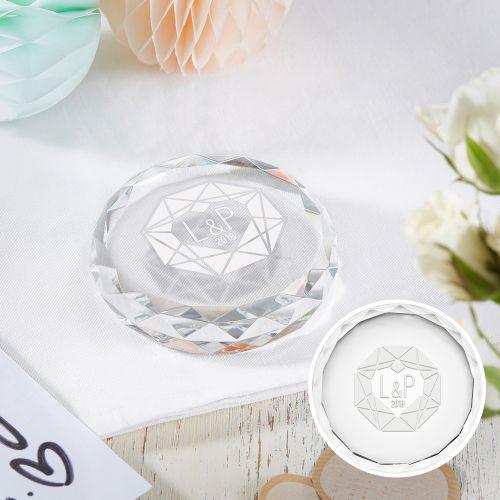 Kristall mit Initialen Gravur Herzdiamant