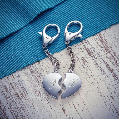 Porte-clé cœur pour couple avec initiales