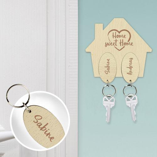 Schlüsselbrett mit Gravur Sweet Home