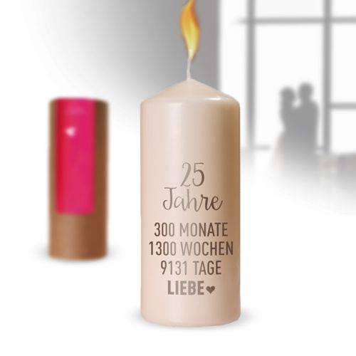 Kerze Silberhochzeit - 25 Jahre Liebe