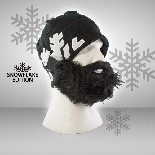 Witziglustigebekleidung - Bartmütze Snowflake schwarz - Onlineshop Monsterzeug