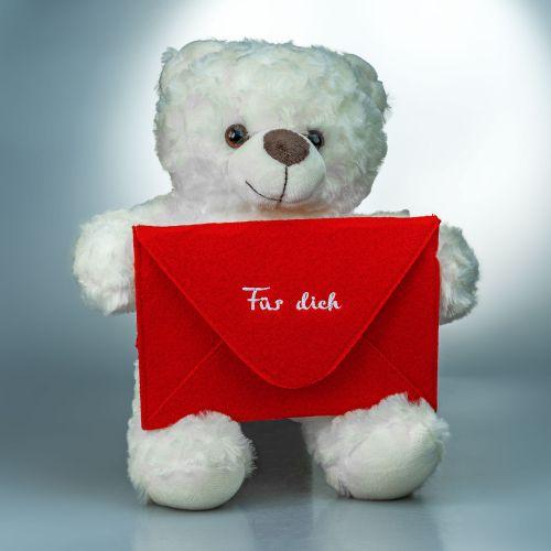 Botschaftsbär roter Umschlag