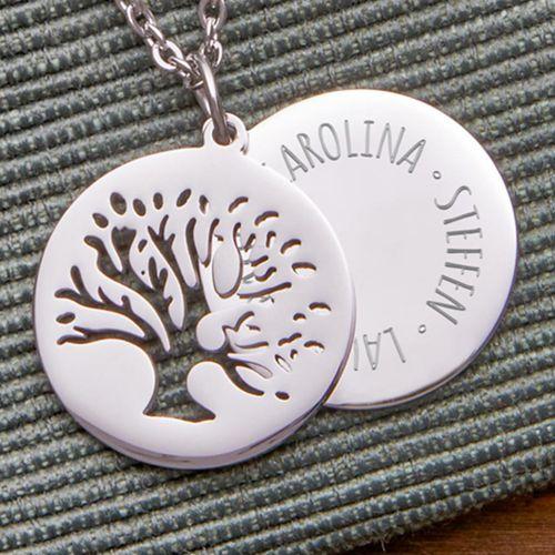 Individuellschmuck - Kette mit graviertem Baum Anhänger Silber Namen - Onlineshop Monsterzeug