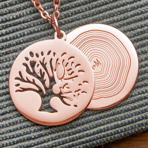 Individuellbesonders - Kettenanhänger Rosegold Baum und Jahresringe mit Initialen - Onlineshop Monsterzeug