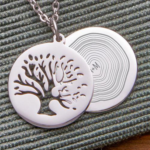 Individuellschmuck - Kettenanhänger Silber Baum und Jahresringe mit Initialen - Onlineshop Monsterzeug