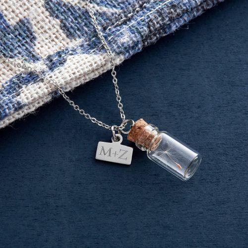 Kettenanhänger Flaschenpost Initialen Gravur