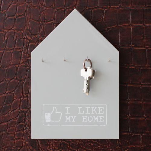 Schlüsselbrett I like my home grau