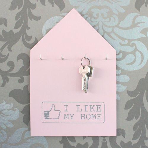 Schlüsselbrett I like my home rosa