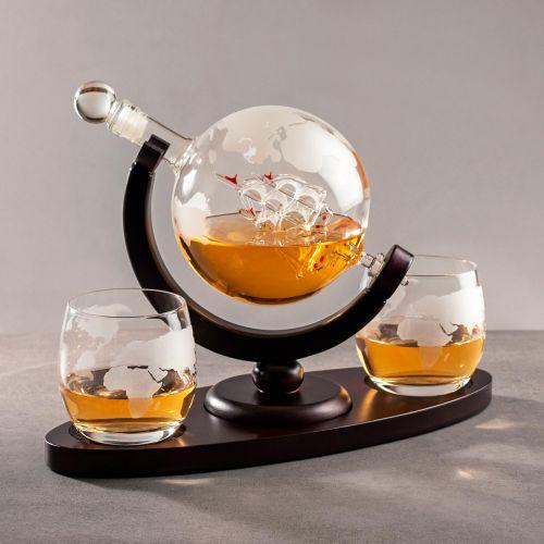 Individuellküchenzubehör - Whisky Set mit Globus Karaffe und 2 Gläsern Segelschiff - Onlineshop Monsterzeug