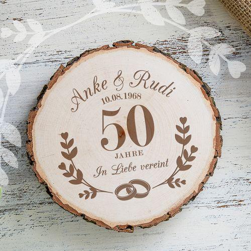 - Baumscheibe mit Gravur zur Goldenen Hochzeit - Onlineshop Monsterzeug