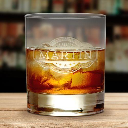 Individuellküchenzubehör - Whiskyglas mit Gravur Banderole - Onlineshop Monsterzeug