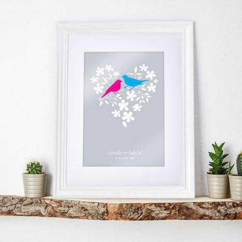 Couple d'oiseaux dans cœur de fleurs – tableau personnalisé blan