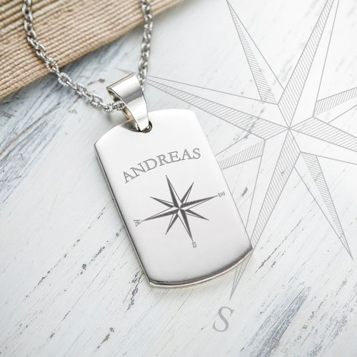 Army Dog Tag Kette mit Gravur Kompass