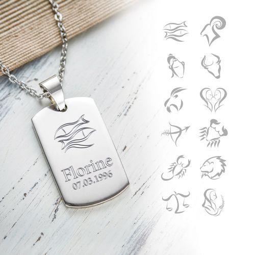 Army Dog Tag Kette mit Gravur - Sternzeichen