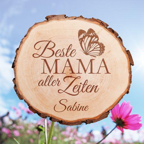 Baumscheibe mit Gravur Beste Mama aller Zeiten