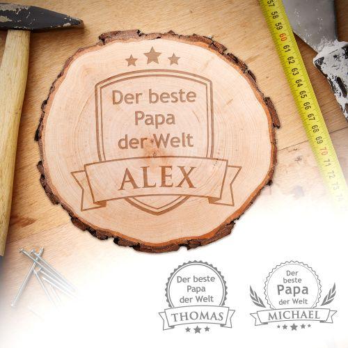echtholz baumscheibe mit gravur der beste papa der welt. Black Bedroom Furniture Sets. Home Design Ideas