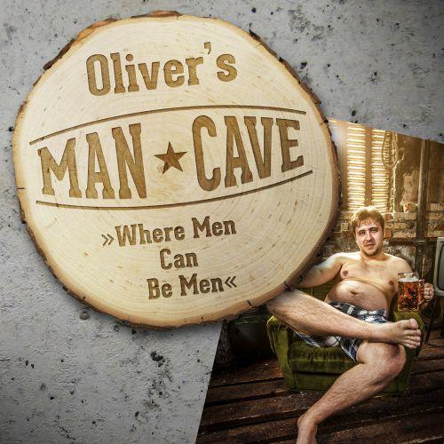 Baumscheibe mit Gravur Man Cave